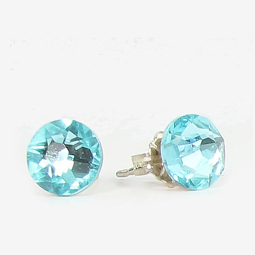7mm Swarovski Crystal Stud Earrings - Light Turquoise