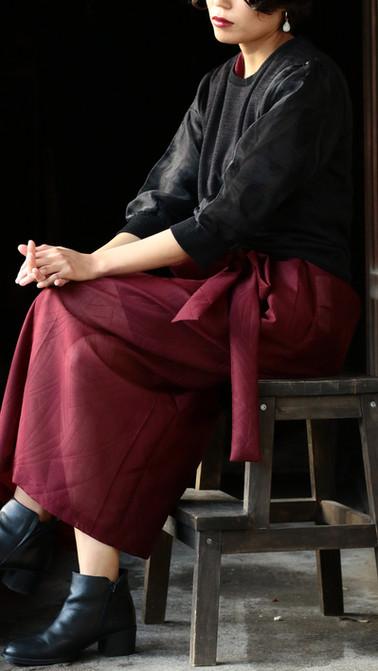 kimonofuku shoulder gathered dress