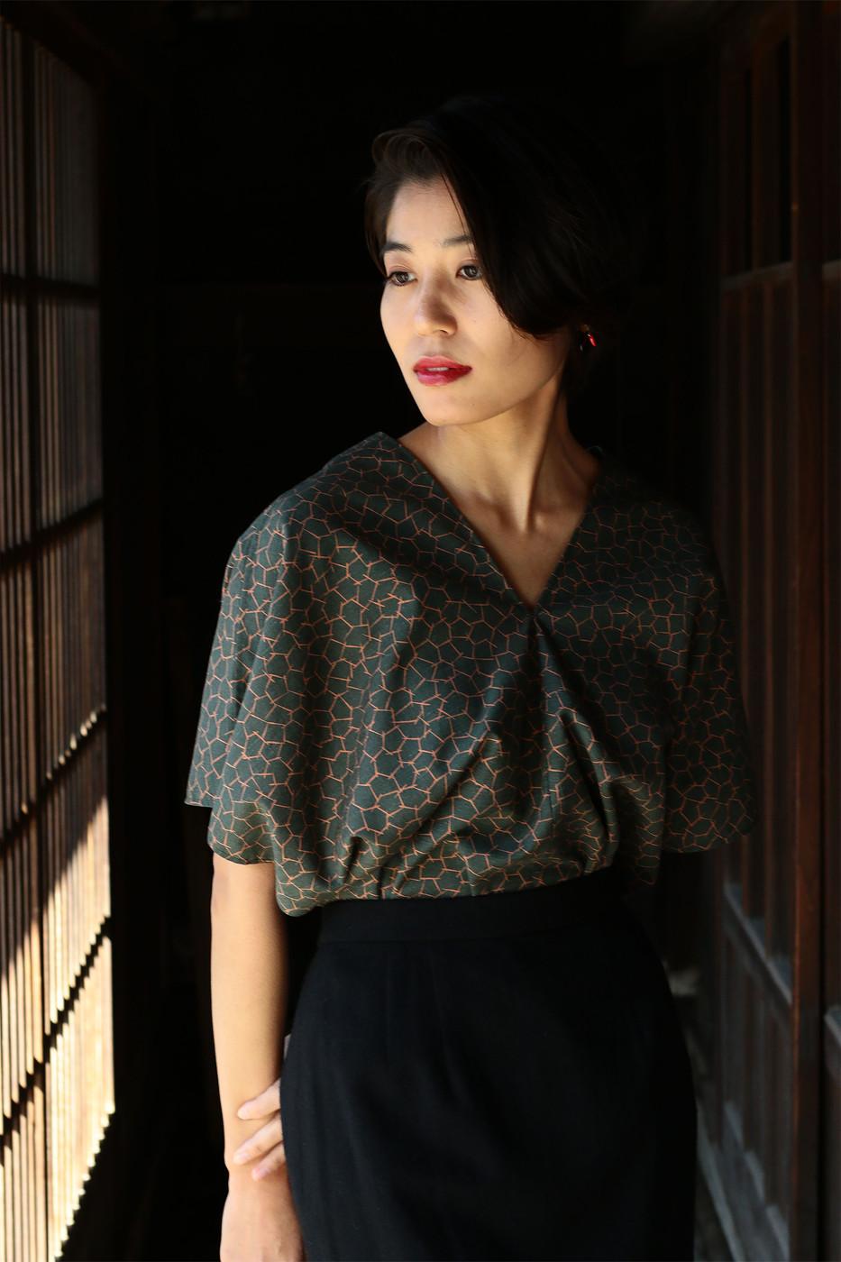 kimonofuku | キモノフク(着物リメイク)フレンチスリーブトップ