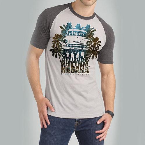 HBM47-Car & Palms  Raglan Shirt