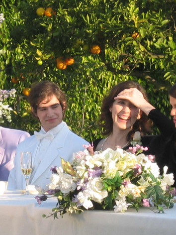 Newlyweds, Steve and Catherine laugh with Best Woman (Suzanne Cryer)