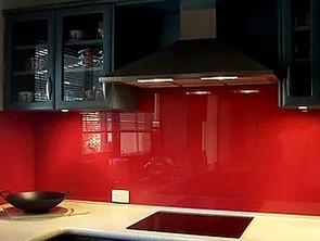Polycarbonate kitchen backsplash installation.