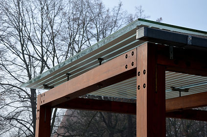 wooden structure of the bus stop, the sh