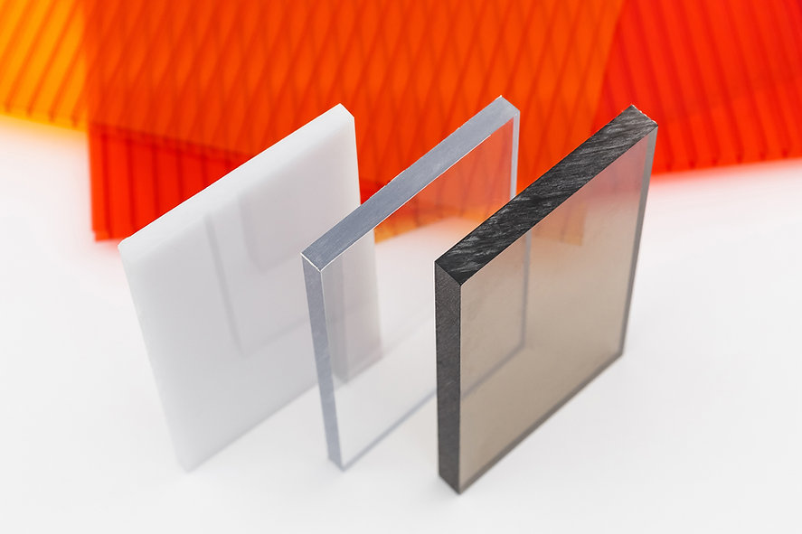 Solid Polycarbonate Sheet. Brown and transparent. Acrylic Plastic glass. Colored pc sheet