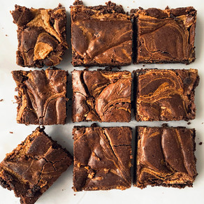 Swirly Peanut Butter Brownies stuffed with Reese's Cups | Baking Recipe