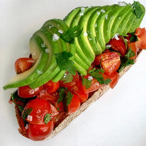 Quick Bruschetta Avocado Toast Recipe   Vegan, Plant-based
