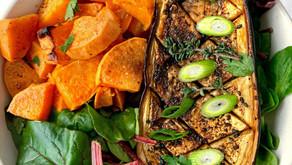 Jamaican Jerk Aubergine (Eggplant) Recipe with Roasted Sweet Potatoes | Vegan