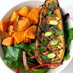 Jamaican Jerk Aubergine (Eggplant) Recipe with Roasted Sweet Potatoes   Vegan