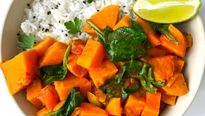Tasty Vegan Sweet Potato Coconut Curry Recipe with Spinach | Plant-based
