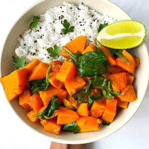 Tasty Vegan Sweet Potato Coconut Curry Recipe with Spinach   Plant-based