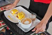 Eggs Benedict Ham With Cafe Latte