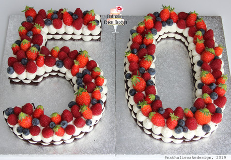 Number Cake 50 Fruits Rouges