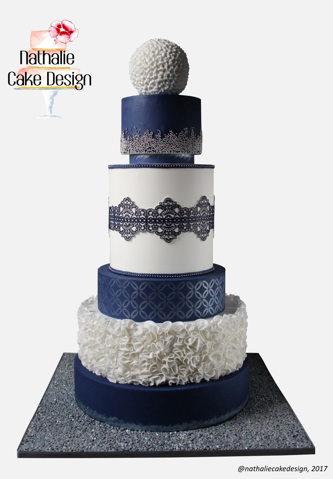 Wedding Cake Bleu Blanc Argent Png