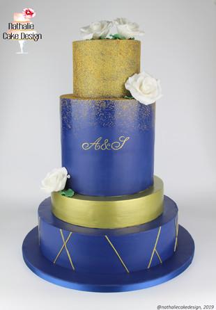 Wedding Cake Bleu & Or