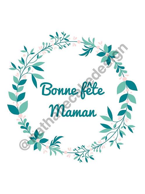 """Impression Alimentaire """"Bonne Fête Maman"""" Disque 20 cm"""