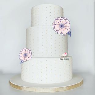 Wedding Cake blanc perles Or