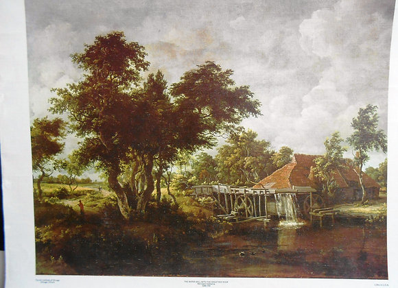"""""""The Water Mill with the Great Red Roof"""" by Hobbema    $"""