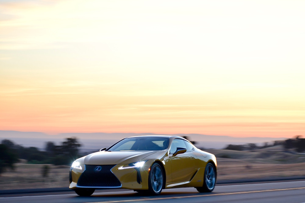 Flare Yellow Lexus LC 500h at speed