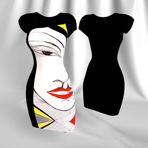 "Black Tubino with Rdress ""Identità Imposta"" artwork"