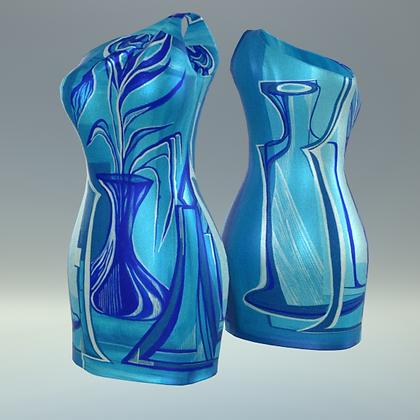 "One-shoulder sheath Tubino ""I giochi della luce (blu)"""