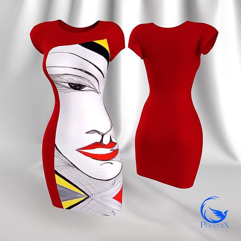 """Red Tubino with Rdress """"Identità Imposta"""" artwork"""