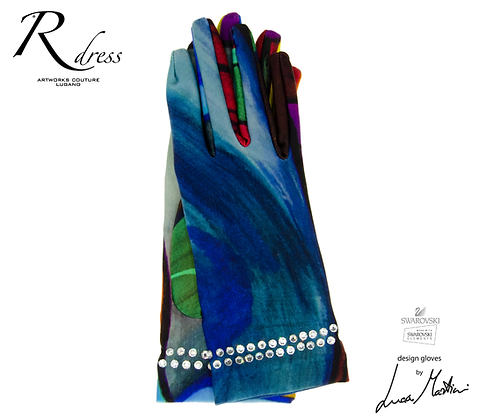 "Short Gloves ""Visioni"" 1 with Swarovski add"