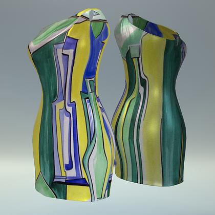 """One-shoulder sheath Tubino """"Il gioco delle bottiglie in giallo e verde"""""""