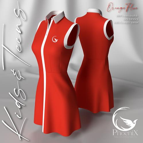 Orange Fluo sleeveless mini dress