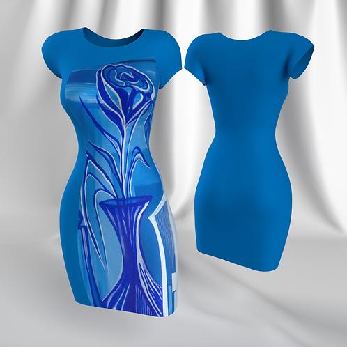 """Tubino """"Chanel"""" with Rdress """"Giochi della luce in Blu"""" artwork"""