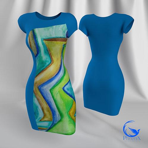 "Turquoise Tubino with Rdress ""Giochi di luce"" artwork"