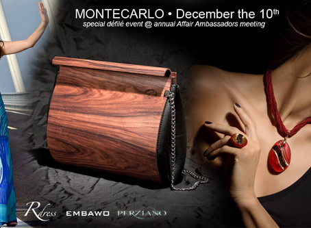 Artworks, Wood and Glass for Monte Carl special défilé, next December, with handmade luxury co-brand