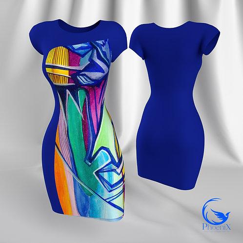 """Blue Tubino with Rdress """"Trasparenze"""" artwork"""