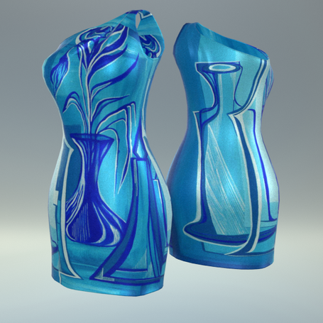 """Rdress presents seven new artworks elements. The """"one shoulder"""" sheath dress will be the protagonist"""