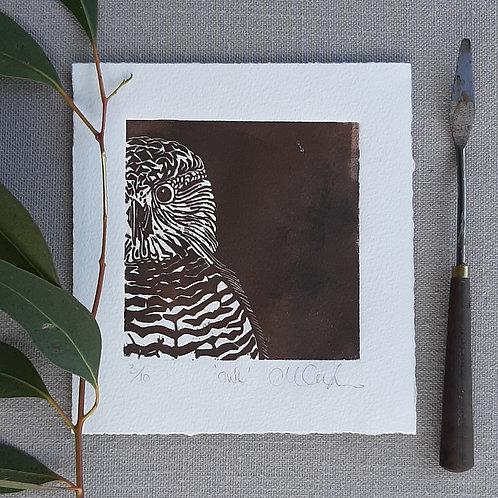 Owl - original linocut