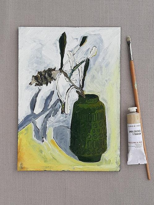 Coastal Banksia in Retro vase - original oil painting