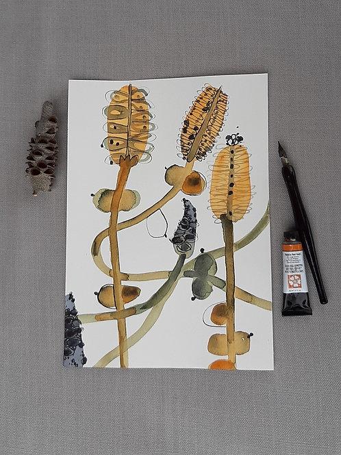 Coastal Gold #3 original watercolour painting