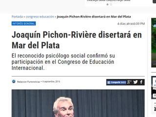 Los medios locales difunden la presencia de Joaquín Pichon-Rivière en el #CongresodeEducación de #Ma