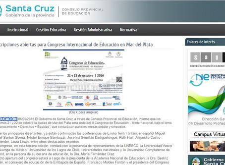 El Consejo Provincial de Educación Santa Cruz,invita a inscribirse al Congreso Internacional de Educ