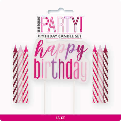 "Pink, Purple & Magenta ""Happy Birthday"" Candle Set"
