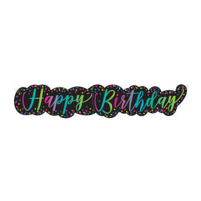 Neon Script Happy Birthday Giant Jointed Banner