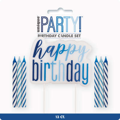 "Blue & Silver ""Happy Birthday"" Candle Set"