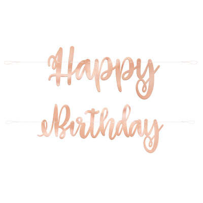 "Rose Gold Script "" Happy Birthday "" Banner"
