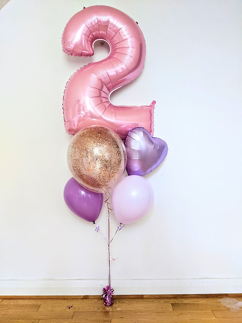 Pastel Number Balloon bouquet.
