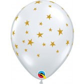 """11"""" Latex Balloon - Clear with Gold Star"""