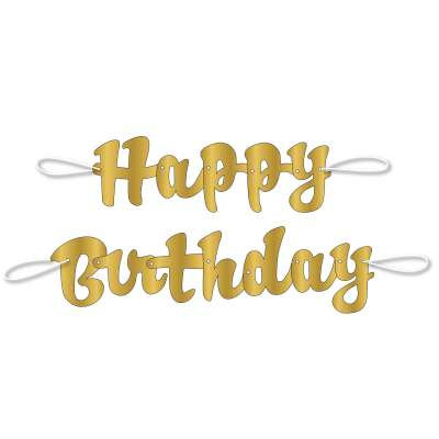 "Gold Script "" Happy Birthday "" Banner"