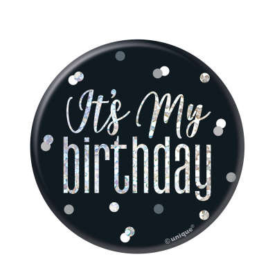 Glitz Black & Silver Birthday Badge