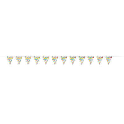 Rainbow Spots Birthday Plastic Flag Banner