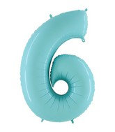Jumbo Number 6 Pastel Blue Foil Balloon