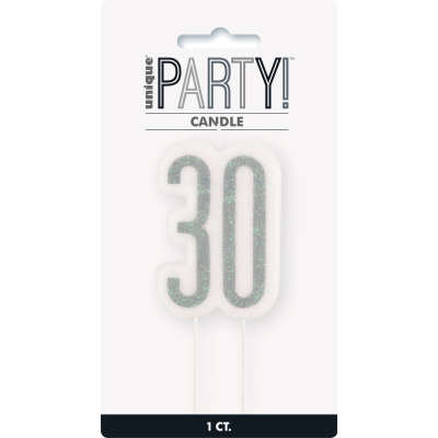 Glitz Black Numeral Birthday Candle 30