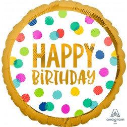 Happy Birthday Gold Dots